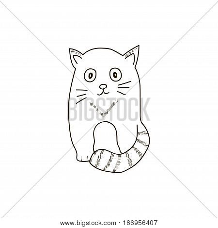 Cat doodle on the white background. Vector illistration