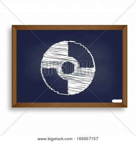Vector Cd Or Dvd Sign. White Chalk Icon On Blue School Board Wit