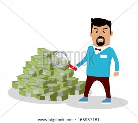 Searching money concept vector illustration. Flat design. Financial crime, tax evasion, money laundering, political corruption illustration. Credit, fundraising and investment illustrating. On white.