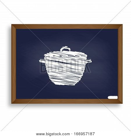 Saucepan Simple Sign. White Chalk Icon On Blue School Board With