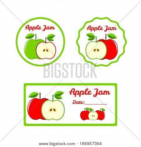 Apple Jam - colorful labels set. Vector illistration