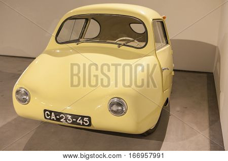 Malaga Spain - December 4 2016: Fuldamobil 1955. Displayed at Museo Automovilistico in Malaga