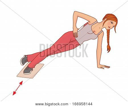 Girl with pigtail performs exercise with a towel on the slippery domiciliary floor to strengthen the gluteal muscles on a white background poster