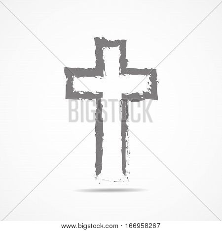 Abstract Christian cross in hand drawn style. Abstract gray Christian cross isolated on white background. Vector illustration.