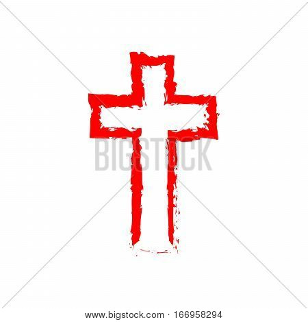 Abstract Christian cross in hand drawn style. Abstract red Christian cross isolated on white background. Vector illustration.