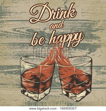 Hand drawn engraving style vector illustration with two glasses of beverage on grunge wooden background. Advertising of alcohol drink