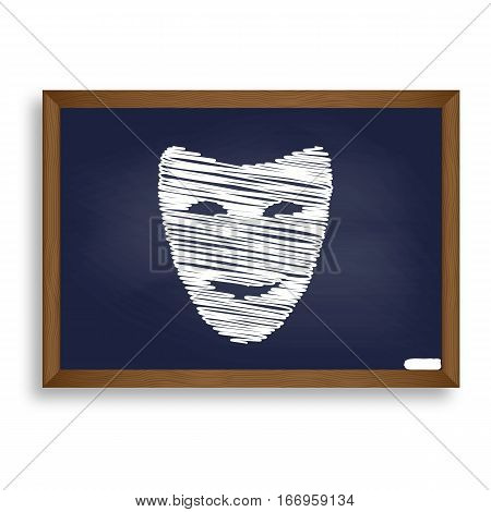 Comedy Theatrical Masks. White Chalk Icon On Blue School Board W