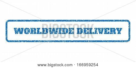 Blue rubber seal stamp with Worldwide Delivery text. Glyph tag inside rounded rectangular shape. Grunge design and unclean texture for watermark labels. Horizontal emblem on a white background.