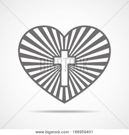 Heart with Christian cross inside. Vector illustration. Symbol of christian love isolated on white background. Christian symbol.