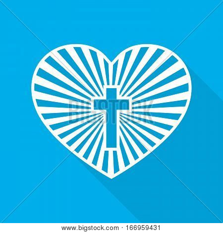 Heart with Christian cross inside. Vector illustration. Symbol of christian love with long shadow on blue background.. Christian symbol.