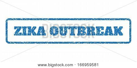 Blue rubber seal stamp with Zika Outbreak text. Glyph tag inside rounded rectangular shape. Grunge design and unclean texture for watermark labels. Horizontal emblem on a white background.