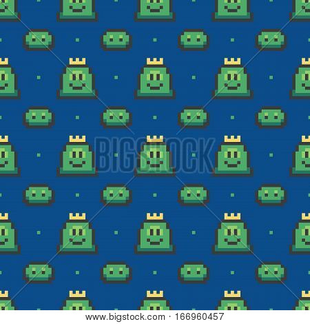 Green pixel slimes, retro video game characters seamless pattern background.