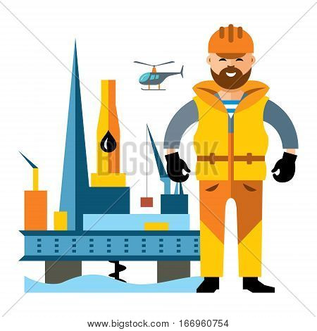 Driller and platform for mining resources. Isolated on a white background