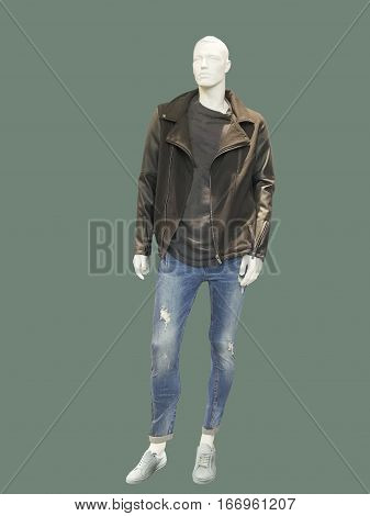 Full-length male mannequin dressed in casual clothes isolated. No brand names or copyright objects.