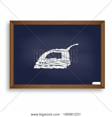 Smoothing Iron Sign. White Chalk Icon On Blue School Board With