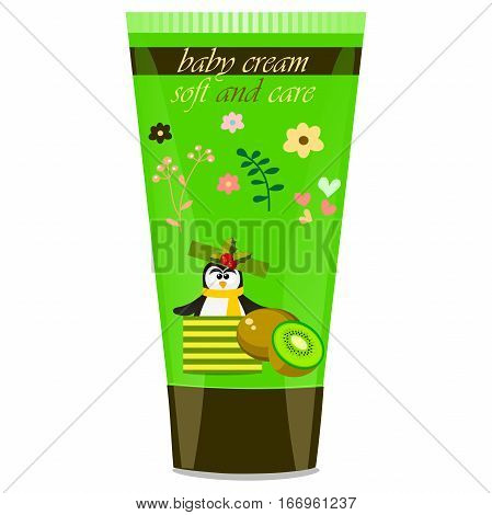 High quality original trendy vector Baby cream tube with kids design and pinguin, kiwi illustration