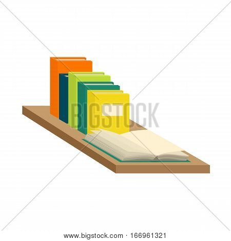 Stack of new 3d colorful books and tutorials on a bookshalf and one open book. Isometric flat classbooks and textbooks icon. Education symbol logo. Illustration vector art.