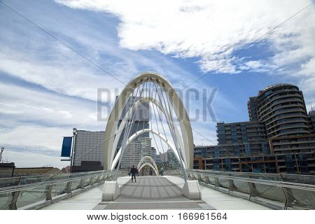 Seafarers bridge over the Yarra river in downtown Melbourne, Victoria,  Australia