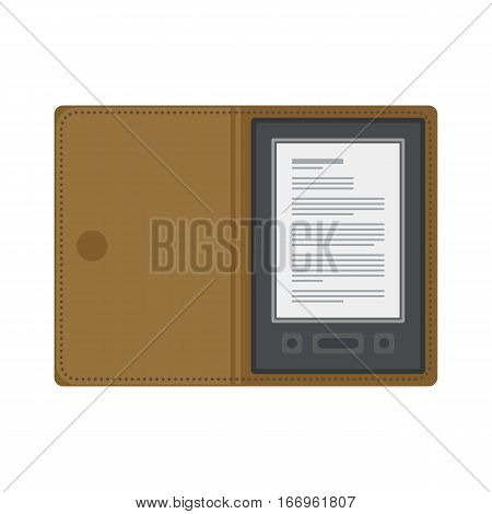 Tablet computer books for reading. Modern device with cloud technology. Mobile education concept. Electronic mobile book with brown liver cover. Flat style vector isolated icon illustration.