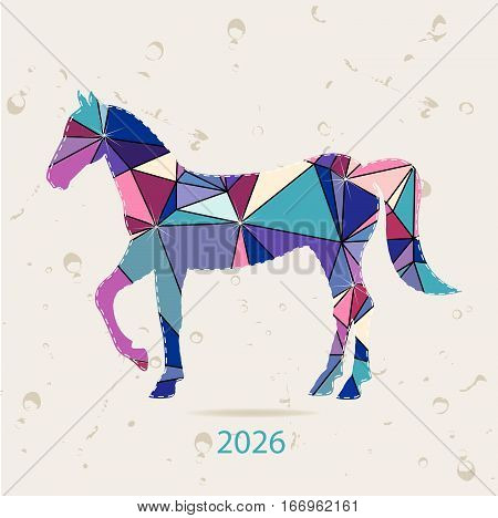 Happy new year 2026 creative greeting card with Horse made of triangles