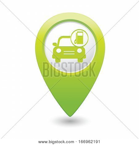 Car service. Car with gas station icon on green map pointer. Vector illustration