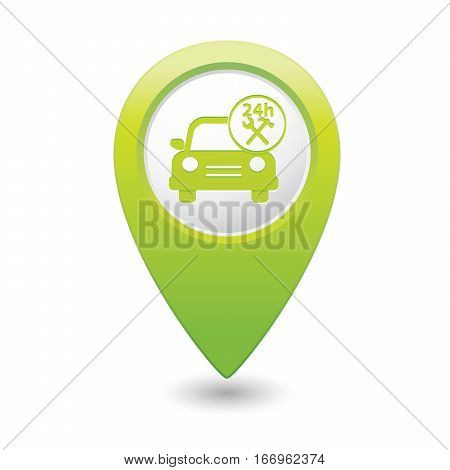 Car service. Car with tools icon on green map pointer. Vector illustration