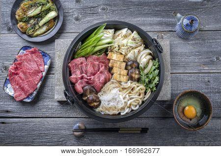 Japanese Sukiyaki in traditional Casr Iron Pot