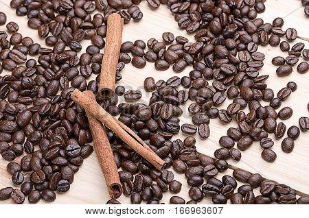Coffee beans . Cinnamon. Concept. Coffee beans . Cinnamon.