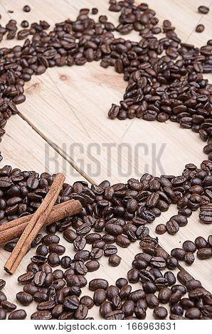 Coffee beans . Cinnamon. Concept. Cinnamon. Concept