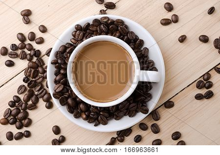 Coffee. Cup Of Coffee With Milk.