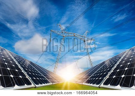 Photo Collage Of Solar Panels And High Voltage Electric Pillar - Concept Of Sustainable Resources