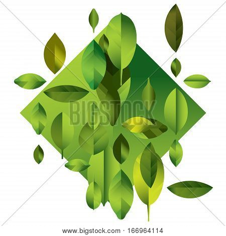 abstract full color modern background with leaves, green geometric illustration