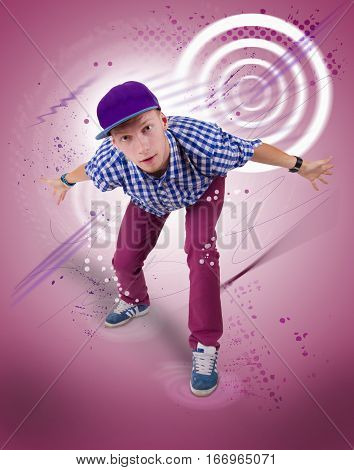 Hip-hop dancer on coloured background with dots and circulares.