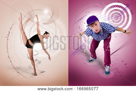 Collage of two images of hip-hop and ballet dancer on coloured background.