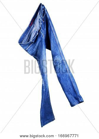 Blue Jeans Isolated on White Trousers, Garment, Navy, Threadbare, Indigo, Kot, Jeanshose