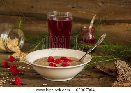 Healthy Breakfast, Oatmeal Porridge With Raspberries And Beverage