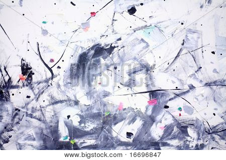 the closeup of Abstract painting and blue paint