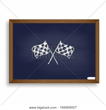 Crossed Checkered Flags Logo Waving In The Wind Conceptual Of Mo