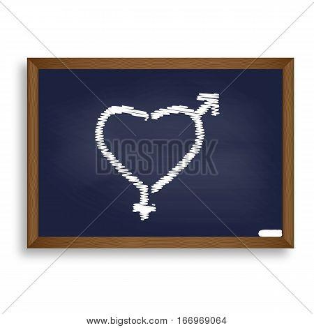 Gender Signs In Heart Shape. White Chalk Icon On Blue School Boa