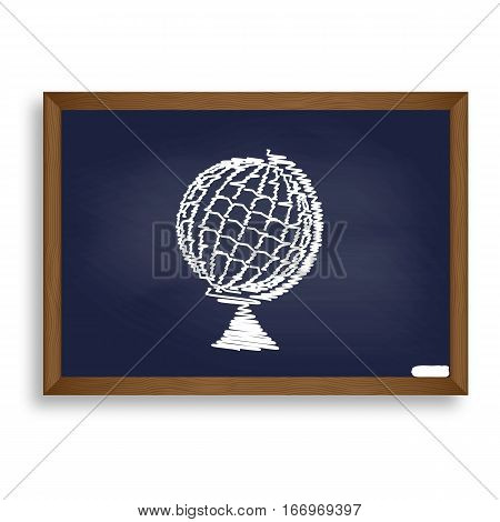 Earth Globe Sign. White Chalk Icon On Blue School Board With Sha