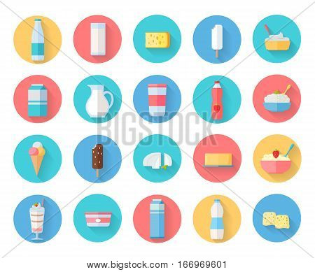Different traditional dairy products from milk round icons set. Milk production, berry yogurt, cheese, sour milk, curd, ice cream. Assortment of dairy products. Natural traditional farm food in flat