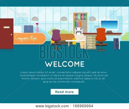 Welcome to office concept web banner vector. Flat style. Bright interior with modern furniture, workplace and reception. Comfortable place for work. Illustration of modern business apartments design.