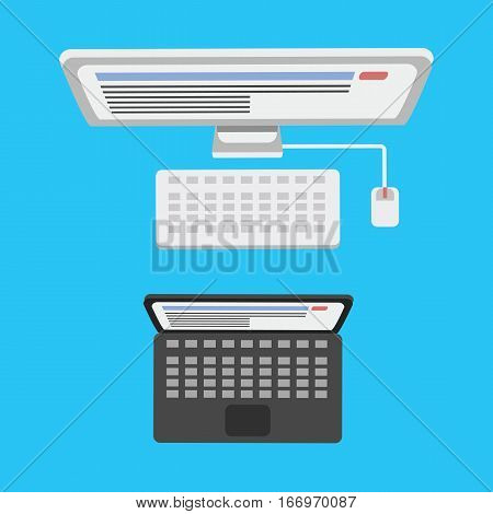 Computer monitor technology vector isolated display. Telecommunication equipment metal pc monitor frame modern office network. Laptop device electronic space.