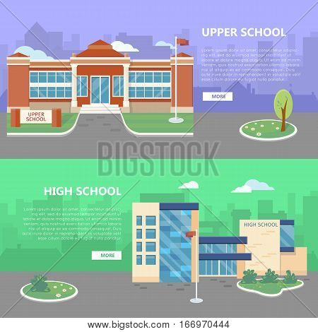 Upper and high school web banners. Modern and classic school buildings with trees flowerbed, flag on yard flat vector illustrations, color city silhouettes on background. For landing page design