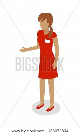 Shop assistant isolated on white background. Seller character templates. Flat style design. Woman sell goods. Supermarket personnel, shopping in mall concept. Merchandiser. Vector illustration