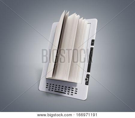 Blank E-book Reader 3D Render Illustration On Grey Gradient