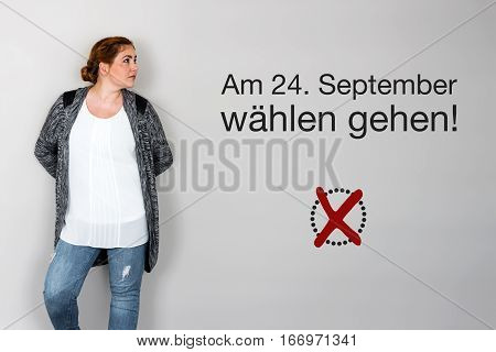 Woman With German Appeal To Vote At German Federal Election 2017