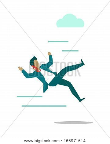 Stormy weather or barriers in business vector. Flat design. Strong wind knocks down man in business suit. Difficult moving forward. Unexpected falling. For weather, climate or business concepts