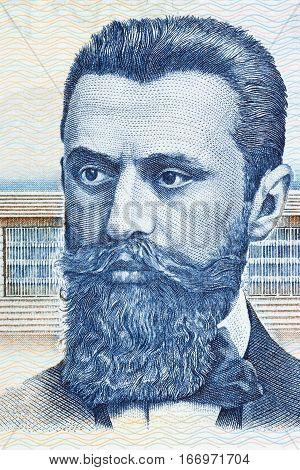 Theodor Herzl portrait from Israeli money - 100 pound