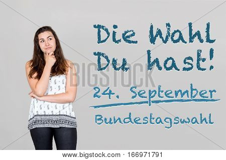 Woman With German Appeal To Go Vote At German Federal Election 2017